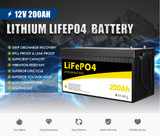 12V 200Ah Lithium Battery LiFePO4 Phosphate Deep Cycle AGM Rechargeable Replace