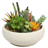 Potted Artificial Succulent Bowl with Natural Stone Pot 21cm