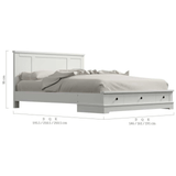 Margaux White Coastal Lifestyle Bedframe with Storage Drawers Queen