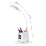 Simplecom EL621 LED Desk Lamp with Pen Holder and Digital Clock Rechargeable