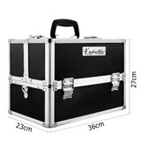 Embellir Portable Cosmetic Beauty Makeup Case with Mirror - Black