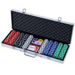 Poker Chip Set 500PC Chips TEXAS HOLD'EM Casino Gambling Dice Cards
