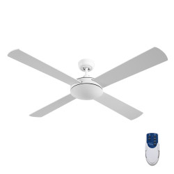 Devanti52 inch 1300mm Ceiling Fan 4 Wooden Blades with Remote Reversible Fans White