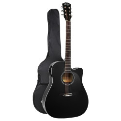 """Alpha 41"""" Inch Electric Acoustic Guitar Wooden Classical Full Size EQ Bass Black"""