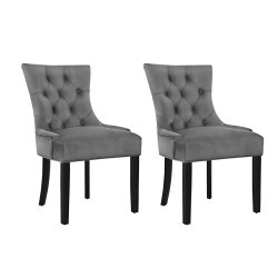 Artiss Set of 2 Dining Chairs French Provincial Retro Chair Wooden Velvet Fabric Grey