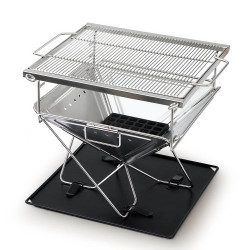 Grillz Camping Fire Pit BBQ Portable Folding Stainless Steel Stove Outdoor Pits