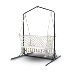 Gardeon Double Swing Hammock Chair with Stand Macrame Outdoor Bench Seat Chairs