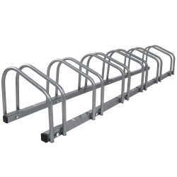 1  6 Bike Floor Parking Rack Instant Storage Stand Bicycle Cycling Portable Racks Silver