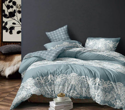 King Size 3pcs Duckegg Blue Floral Quilt Cover Set