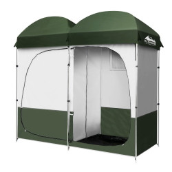 Weisshorn Double Camping Shower Toilet Tent Outdoor Portable Change Room Green