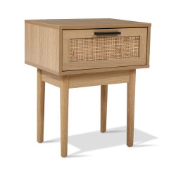 Artiss Bedside Tables Table 1 Drawer Storage Cabinet Rattan Wood Nightstand