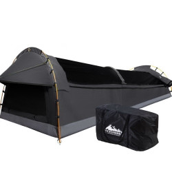 Weisshorn Camping Swags King Single Swag Canvas Tent Deluxe Dark Grey Large