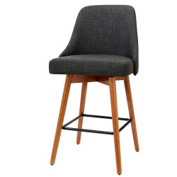Artiss set of 4 Wooden Bar Stools Swivel Bar Stool Kitchen Dining Chairs Cafe Charcoal