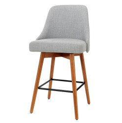 Artiss set of 4 Wooden Bar Stools Swivel Bar Stool Kitchen Dining Chairs Cafe Grey