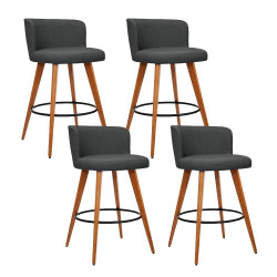 Artiss Set of 4 Wooden Bar Stools Modern Bar Stool Kitchen Dining Chairs Cafe Charcoal