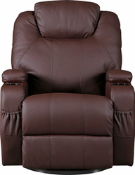 Brown Massage Sofa Chair Recliner 360 Degree Swivel PU Leather Lounge 8 Point Heated