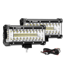 2x 7inch CREE LED Light Bar Side Shooter Pods Combo Beam Work Driving 4WD OffRoad