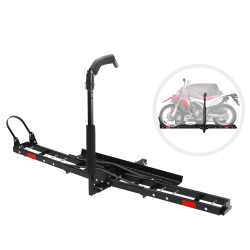 """Steel Motorcycle Motorbike Carrier Rack 2"""" Towbar Hitch Mount With Ramp San Hima"""