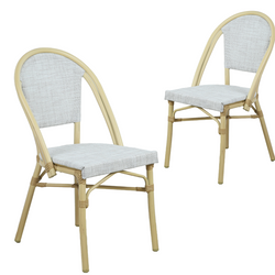 Morris White+Natural French Flair Outdoor Dining Chair Set