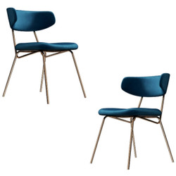Kylie Modern Sapphire Blue Dining Chair with Gold Legs Set of 2