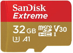 SANDISK SDSQXAF-032G-GN6MN 32GB MICRO SDHC EXTREME A1 V30, UHS-I/ U3, 100MB/s ,NO  SD ADAPTER