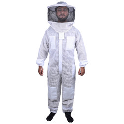 Beekeeping Bee Full Suit 3 Layer Mesh Ultra Cool Ventilated Round Head Beekeeping Protective Gear SIZE M