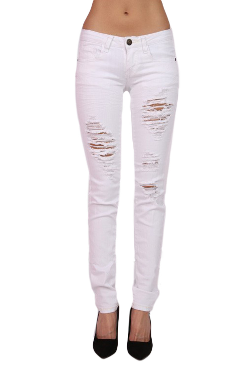 a12f121e6c7d9 Destroyed White Skinny Jeans