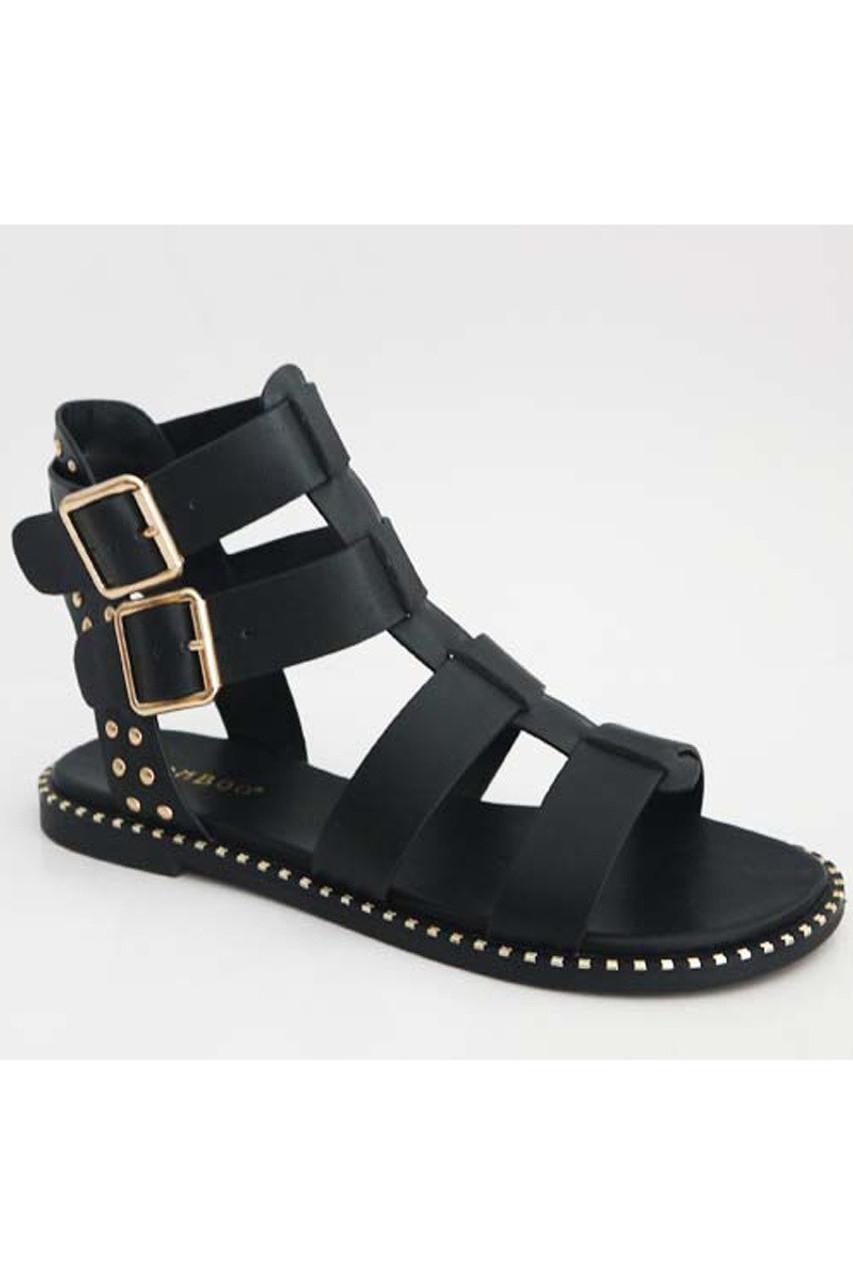 a7a087fe430 Black Gladiator Sandal - Griffin Apparel