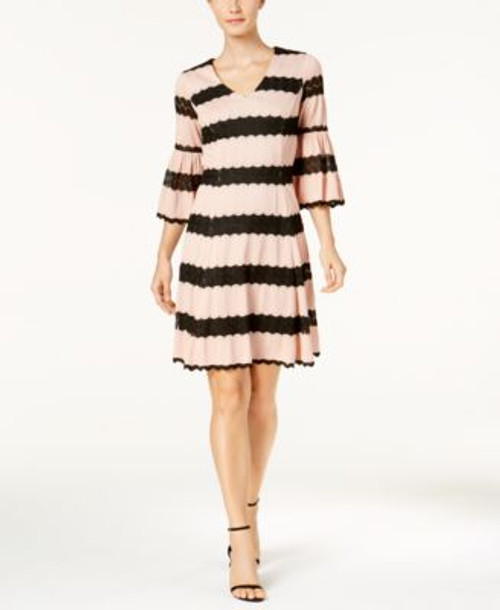 Taylor Lace Stripe Bell Sleeve Dress Apricot Black Griffin Apparel