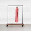 Industrial Pipe Clothing Rack with Cedar Wood Shelves | Single Shelf on Wheels