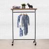 Industrial Pipe Clothing Rack with Cedar Wood Top Shelf