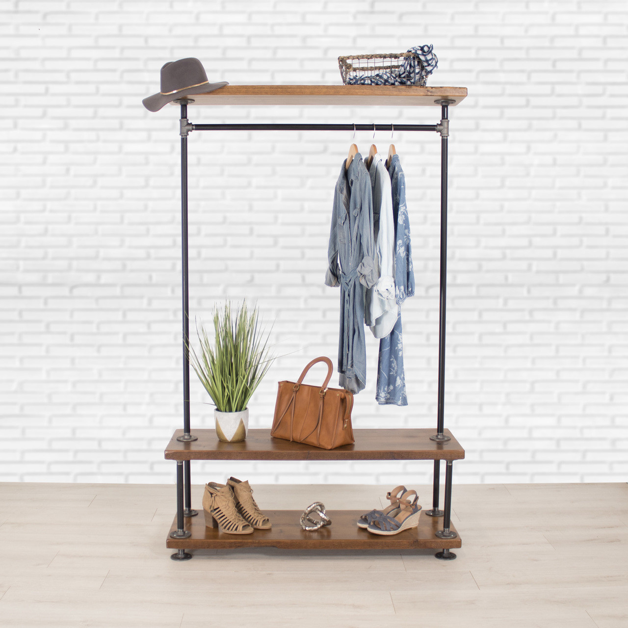 Industrial Pipe Clothing Rack with Cedar Wood Shelves