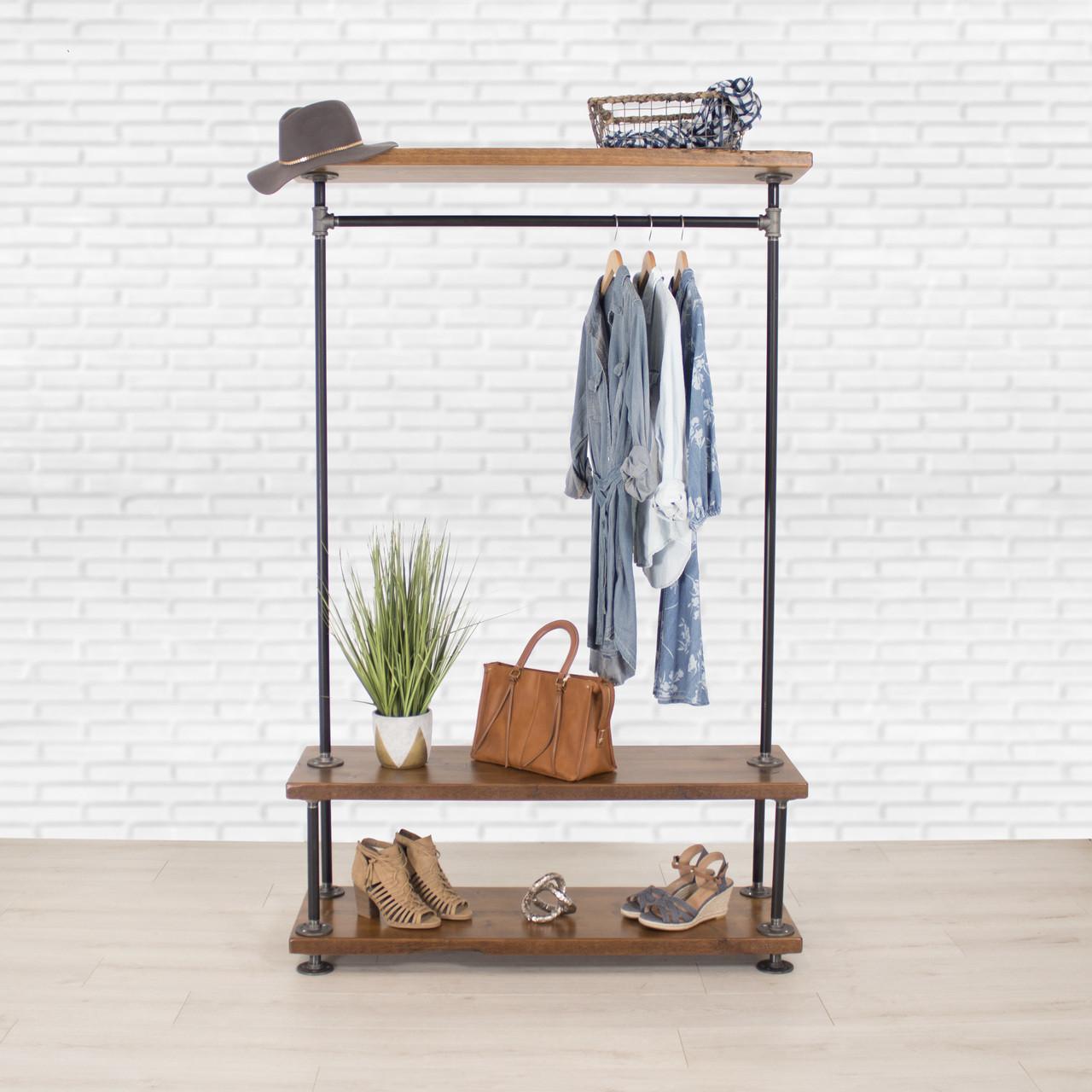 Industrial Pipe Clothing Rack With Cedar Wood Shelves Triple Shelf