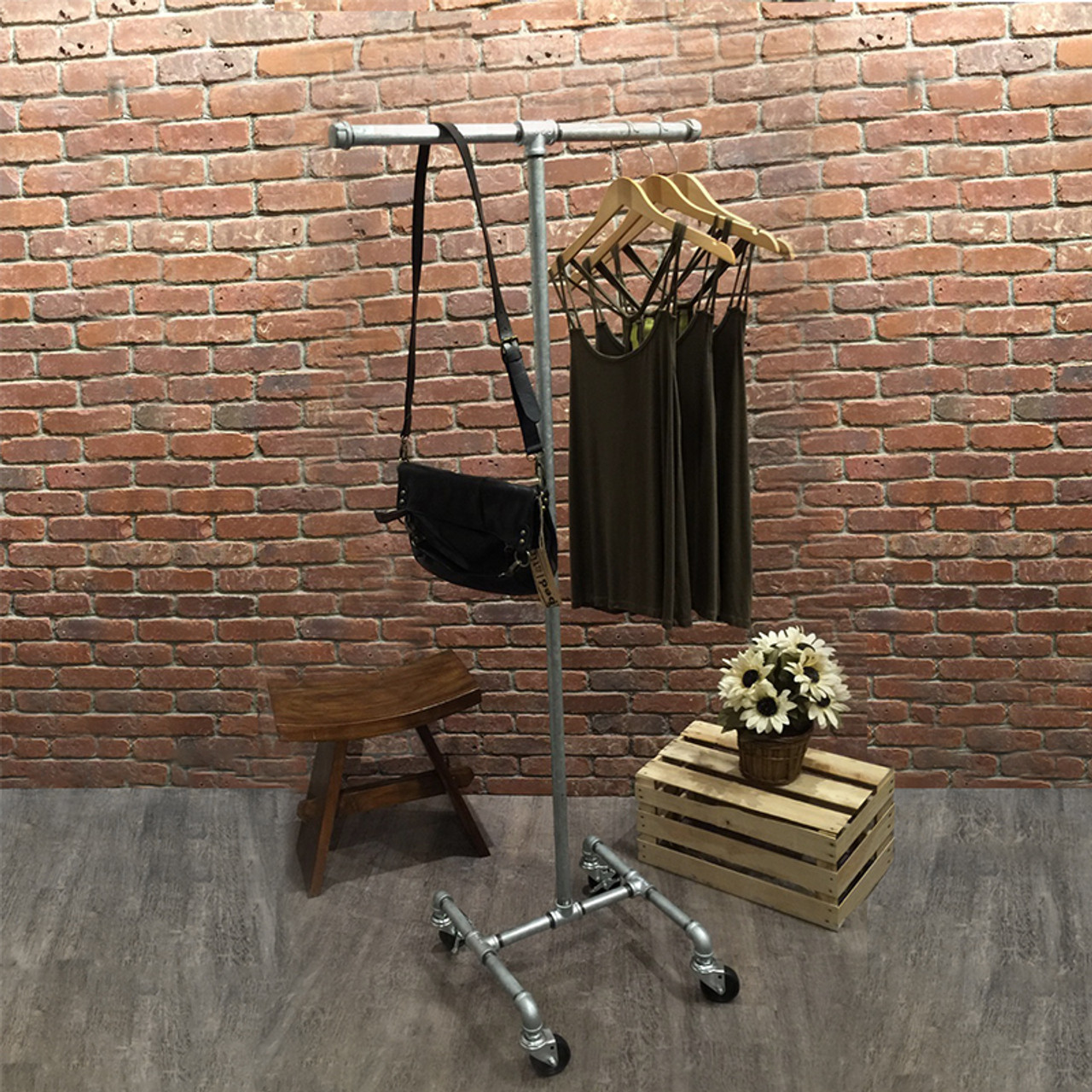 Industrial Pipe Rolling Clothing Rack   Galvanized   2 Way