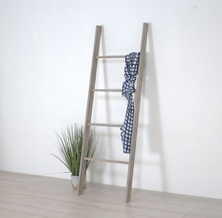 Wooden Decorative Ladder Shelf, Blanket Ladder, Distressed Ladder Display