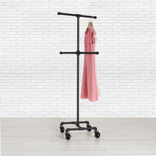 Industrial Pipe Rolling Clothing Rack | 4-Way