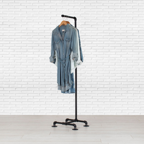 Industrial Pipe Clothing Rack | Single Bar
