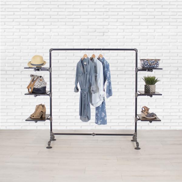 Industrial Pipe Clothing Rack with Cedar Wood Shelving | Side Shelf