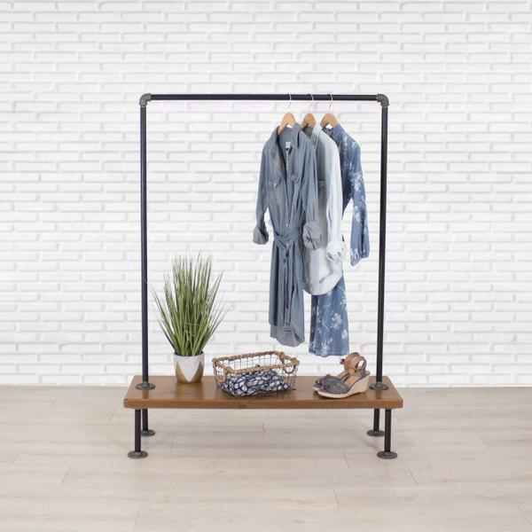 Industrial Pipe Clothing Rack with Cedar Wood Shelf   Single Shelf