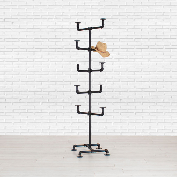 Industrial Pipe Hat Display Rack