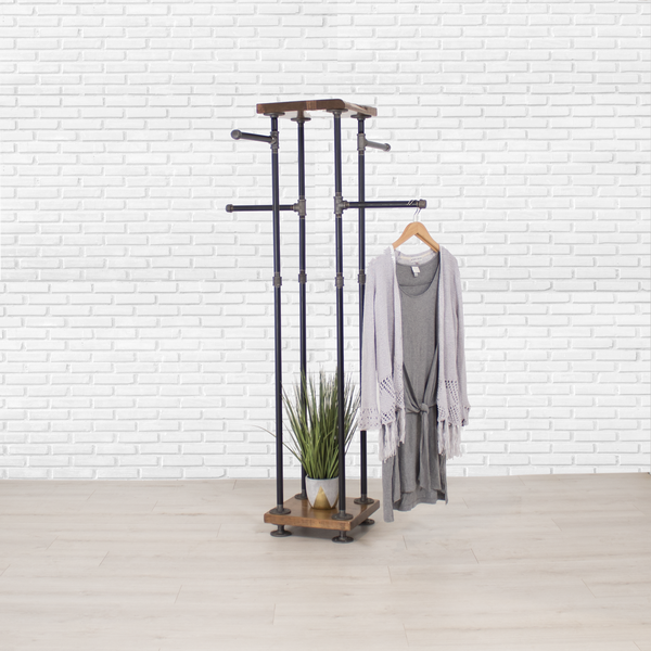 Industrial Pipe and Wood Clothes Rack 4-Way, Garment Rack, Clothing Rack, Closet Organizer, Clothing Storage and Display