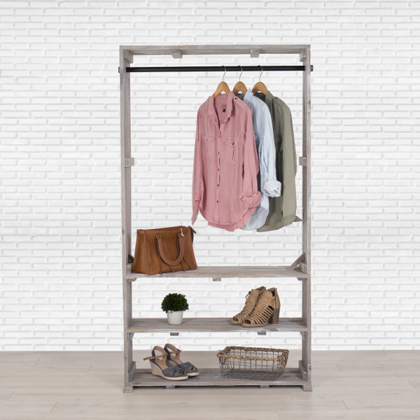 Wooden Clothing Rack with Shelves, Free Standing Clothing Storage, Closet Organizer, Pipe and Wood Clothes Rack, Garment and Shoe Stand, Distressed Crate Display
