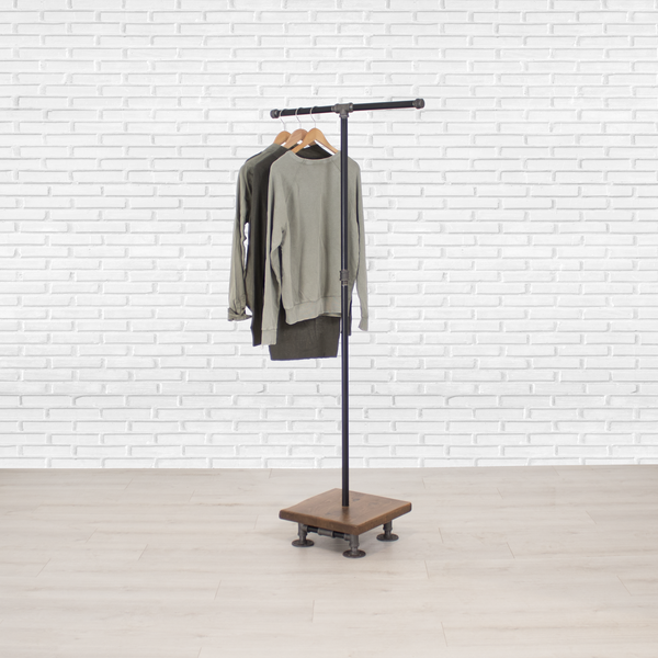 Industrial Pipe and Wood Clothes Rack 2-Way, Garment Rack, Clothing Rack, Closet Organizer, Clothing Storage and Display, Wood Shelving