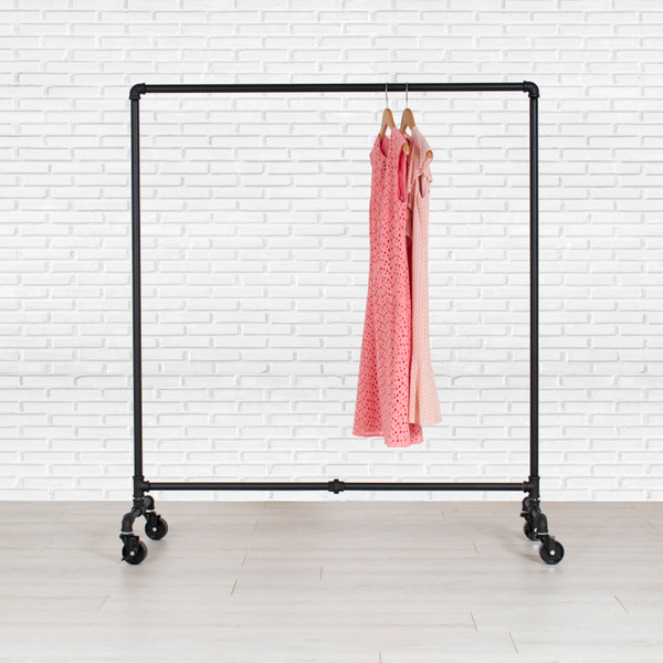 Industrial Style Heavy Duty Pipe Rolling Clothing Rack
