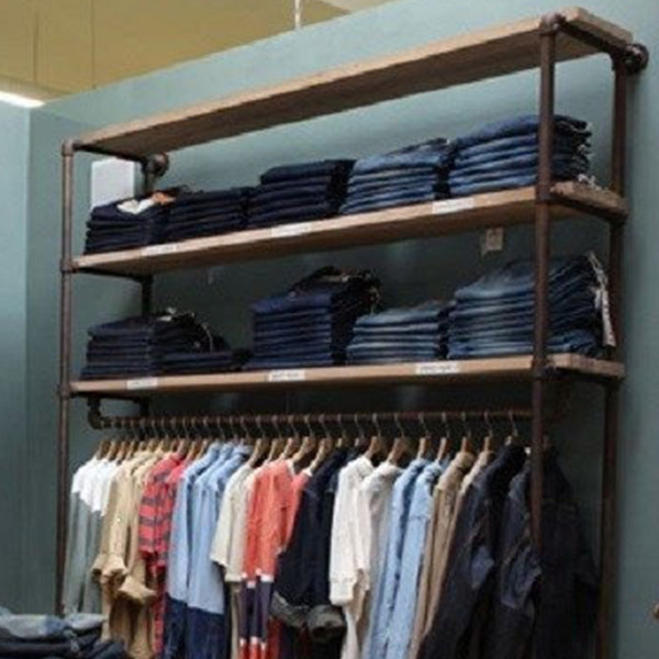 Industrial Pipe Clothing Rack | Large Wall Rack