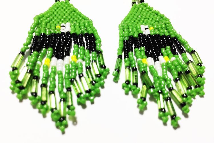 Beaded Dangle Earrings - Eagle/Green