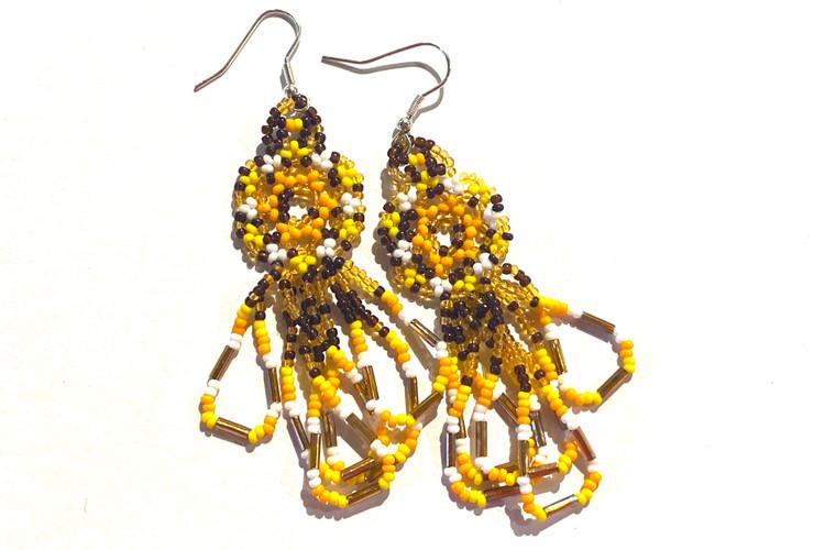 Beaded Dangle Earrings - Brown/Yellow/Orange