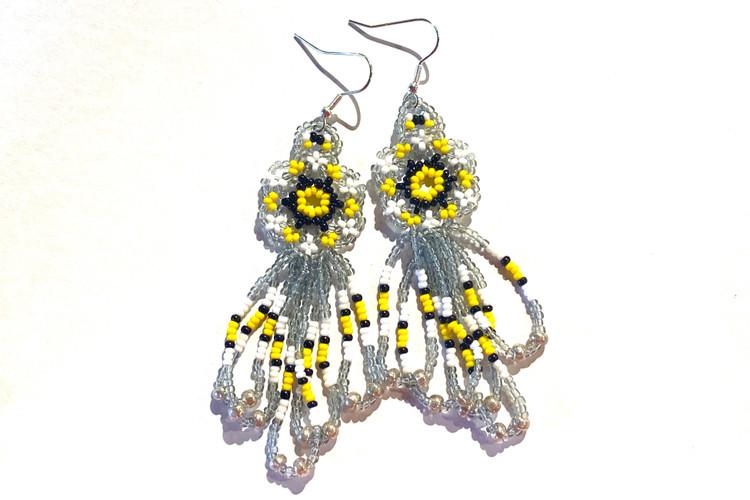 Beaded Dangle Earrings - Gray/Yellow