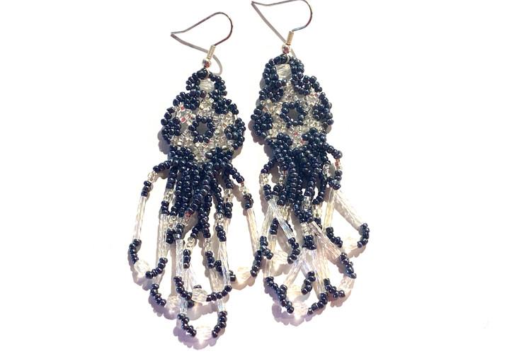 Beaded Dangle Earrings - Black/Clear