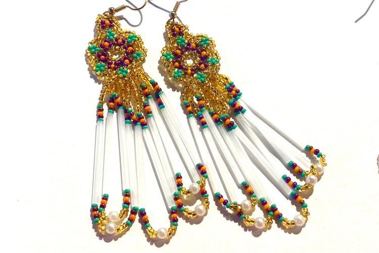 Beaded Dangle Earrings - Gold/Purple